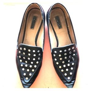 Topshop Leather Studded Flat Loafers Black